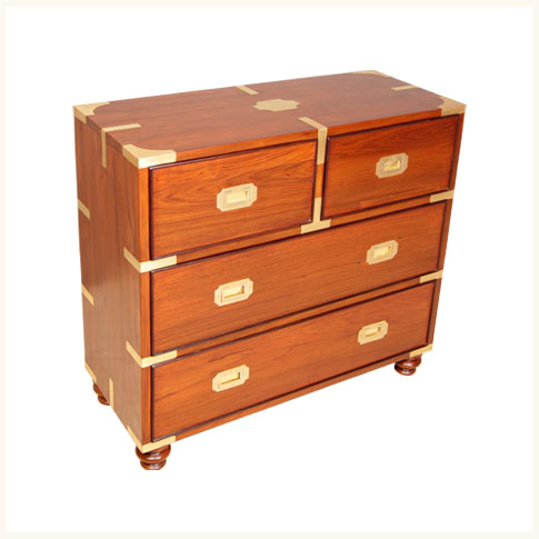 Delhi Teak And Rosewood Campaign Chest Of DrawersBritish Colonial Dresser Storage Bedroom Reproduction
